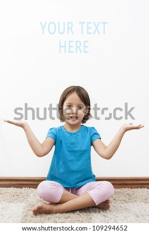 little girl in meditation time - have yoga - stock photo