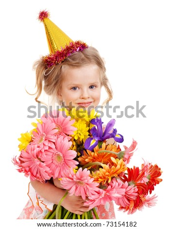 Little girl in party hat. Isolated.