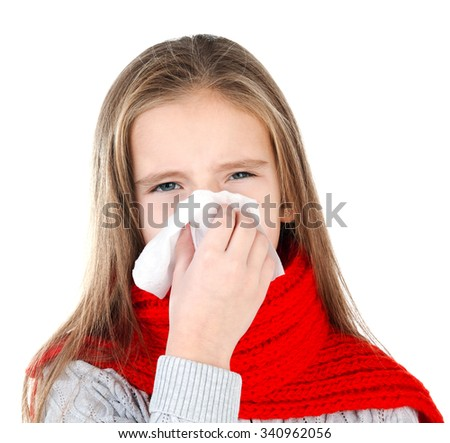 Little girl in red scarf blowing her nose closeup isolated on white - stock photo