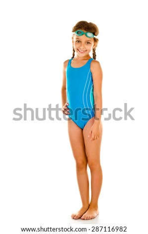 little girl in swimsuit isolated on white - stock photo