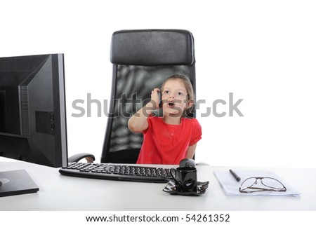 little girl in the office talking on the phone. Isolated on white background - stock photo