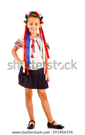 little girl in traditional ukrainian dress isolated on white - stock photo