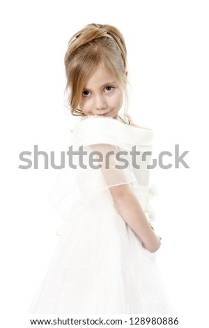 little girl in wedding dress, isolated on white background - stock photo