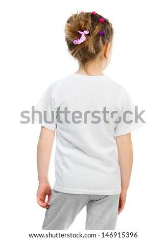 little girl in white t shirt (back) isolated over white background - stock photo