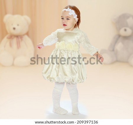 Little girl in your room.the concept of childhood and joy, teens - stock photo