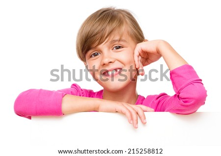 Little girl is looking out from the blank banner, isolated over white - stock photo