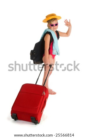 Little girl is saying goodbye for vacation - stock photo