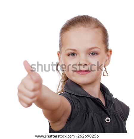 Little girl is showing thumb up gesture using both hand, isolated over white - stock photo