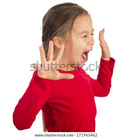 Little girl is yelling hysterically - stock photo