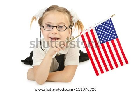 Little girl isolated on the whie - stock photo