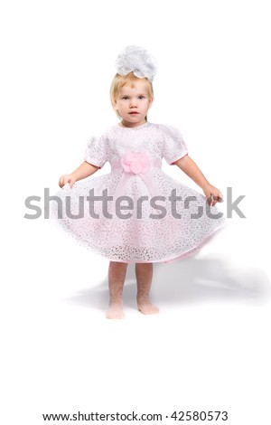 little girl isolated on white - stock photo