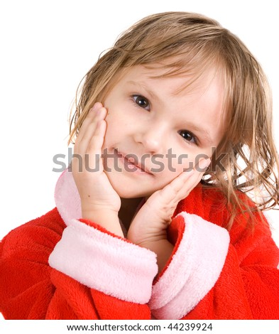 little girl isolated on white