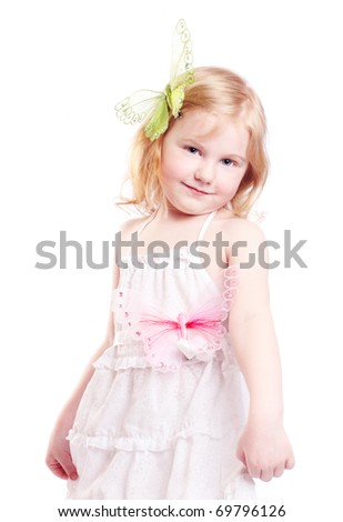 little girl  isolated on white - stock photo