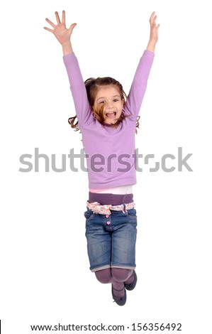 little girl jumping isolated in white - stock photo