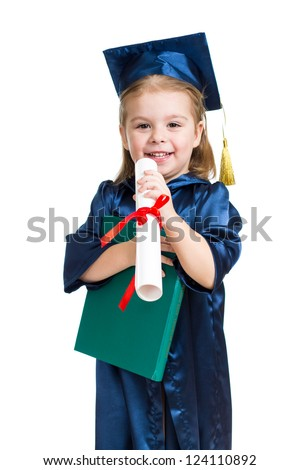 Little girl kid in academician clothes  reading book - stock photo