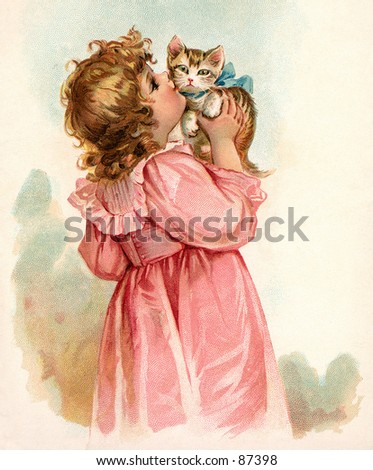 Little girl kissing her kitten - a vintage (c.1890) illustration. - stock photo