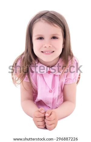 little girl lying isolated on white background - stock photo