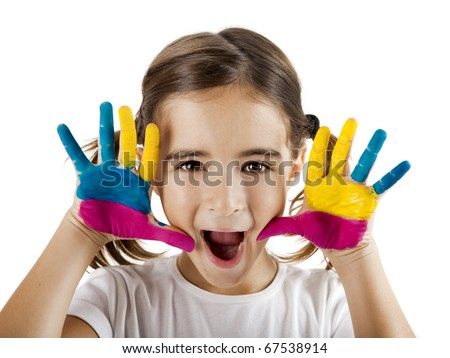 Little girl making a funny face with both hands painted - stock photo