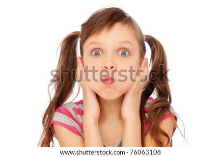 little girl making faces over white background