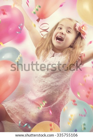 Little girl on birthday party - stock photo