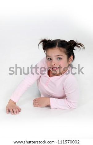 Little girl on fashion shoot - stock photo