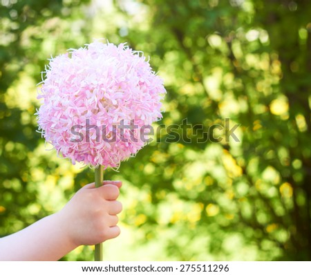 little girl on mothers day - background for greeting card - stock photo