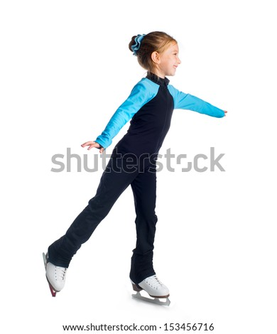 Little girl on skates isolated on a white background