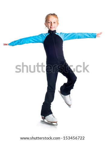 Little girl on skates isolated on a white background - stock photo