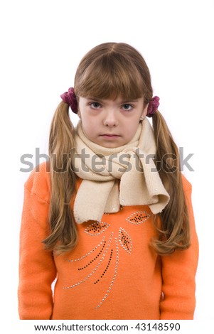 Little girl on white background in winter clothing is sick. Female have sore throat. - stock photo
