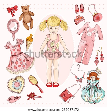 Little girl paper doll album project accessories set print with child character dress pajama sketch  illustration - stock photo