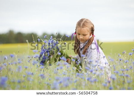Little girl picking blue flowers in a field - stock photo