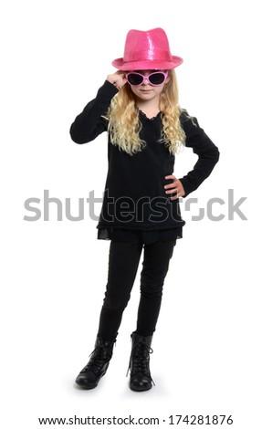 little girl playful behavior isolated white background - stock photo
