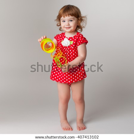 little girl playing - stock photo