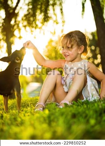 Little girl playing with a dog in the park - stock photo