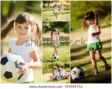 little girl playing with her brother in soccer, collage - stock photo