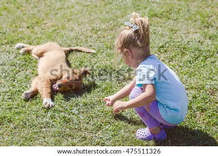Little girl playing with puppy on the green field.