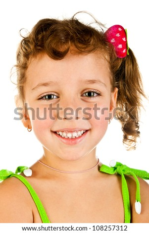 little girl portrait isolated on a white background