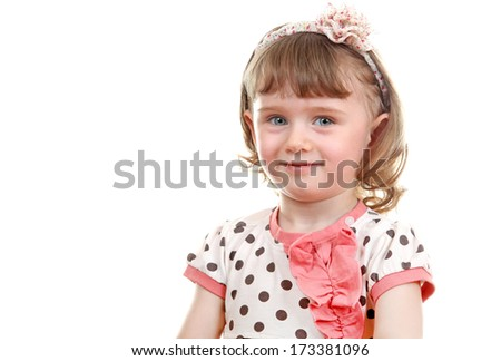 Little Girl Portrait Isolated on the white background