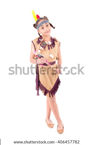 little girl posing on halloween isolated in white