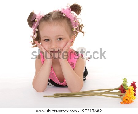 little girl posing with a bouquet of flowers.Isolated on white background.