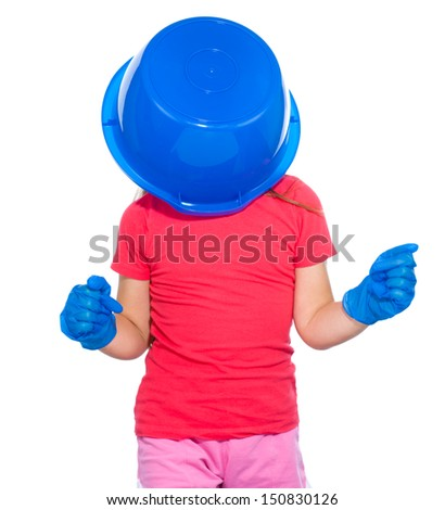 Little girl put a blue bucket on her head, tired of cleaning concept, isolated over white - stock photo