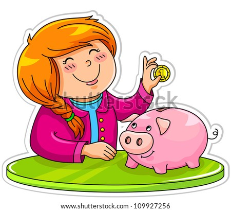 little girl putting a coin in her piggy bank (vector version available in my gallery) - stock photo