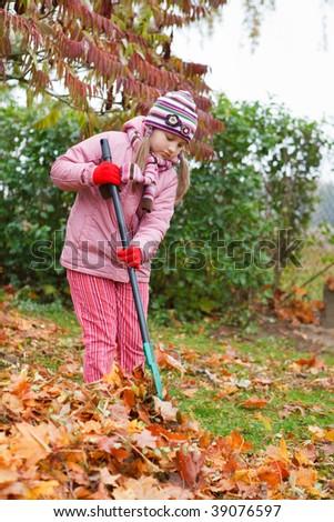 Little girl rake colorful fallen autumn leaves in garden - stock photo