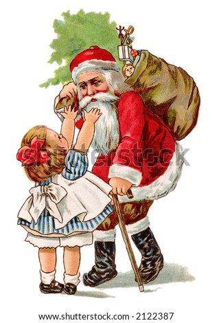 Little girl reaching to give Santa Claus a hug - a circa 1910 vintage greeting card illustration. - stock photo