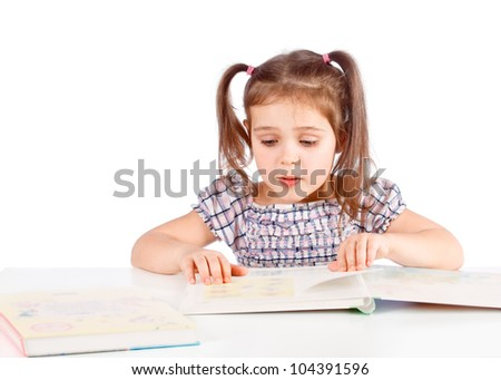 little girl reading a book, isolated