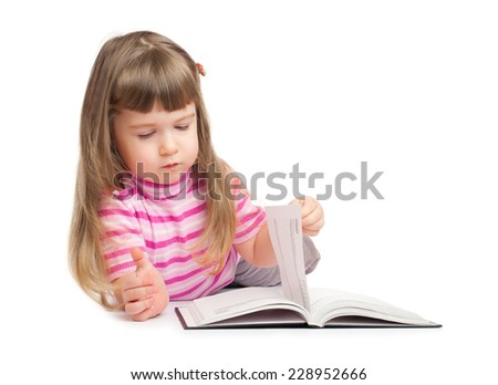 Little girl reading book isolated - stock photo