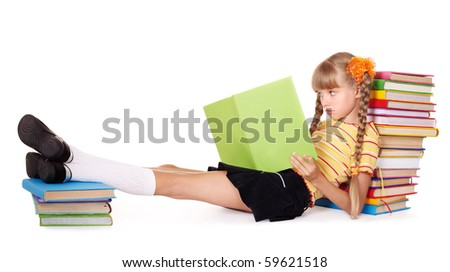 Little girl  reading  pile of books. Isolated.