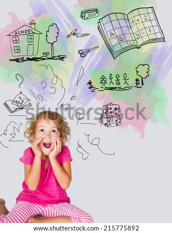 little girl ready for school - stock photo
