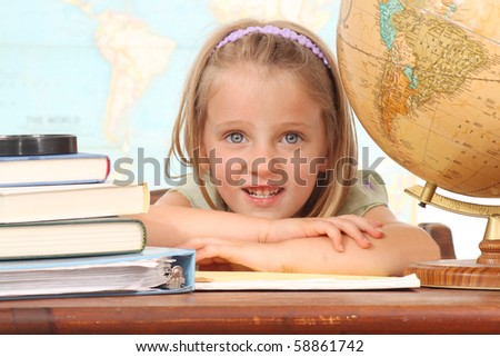 Little girl ready to learn - stock photo