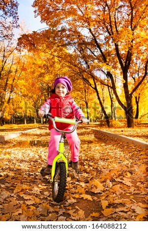 Little girl riding a bicycle in the park - stock photo